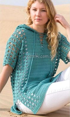 from Annie's Spring Breeze Crochet Pattern Collection 2017 Crochet pattern for hooded tunic top / sweater. Openwork pullover crochet with hood. Pattern pattern (Crochet) - Magazine Inspiration of the Needlework Openwork pullover a hook with a hood. Pull Crochet, Gilet Crochet, Crochet Shirt, Crochet Jacket, Crochet Cardigan, Crochet Baby, Knit Crochet, Crochet Tops, Crochet Sweaters