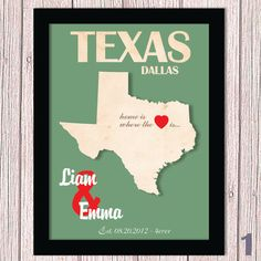 Personalized Couple ANY  State Art Print  by HappyHouseNo1 on Etsy