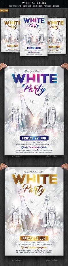 White Party Flyer — Photoshop PSD #White Party #new year • Available here → https://graphicriver.net/item/white-party-flyer/14821515?ref=pxcr