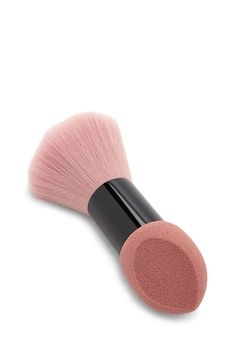 A makeup sponge and brush duo featuring a pointed tip, flat edge, and a matte handle.