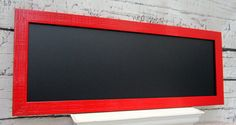 "MODERN FRAMED CHALKBOARDS For Sale Long Narrow Chalk board Red Kitchen 39""x16"" Red Framed Magnetic Urban Modern Decor Kitchen Magnet Board"