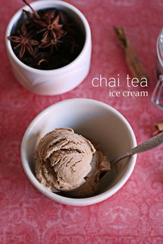 CHAI TEA ICE CREAM ~  Makes a bit over a quart :: Ingredients :: 5 star star anise 1 tablespoon of dried cloves 2 cinnamon sticks, broken apart (if they're dry sticks, use 3) 3 slices of ginger 10 cardamom pods, opened to seeds 5 tablespoons full-bodied black tea (or 8 Chai Tea tea bags) 1 cup of milk 2 cups heavy cream (divided, 1 cup & 1 cup) 1/2 cup sugar A pinch of salt 5 egg yolks