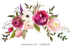 Find Watercolor Boho Burgundy Red Magenta White stock images in HD and millions of other royalty-free stock photos, illustrations and vectors in the Shutterstock collection. Watercolor Leaves, Watercolor Cards, Floral Watercolor, Watercolor Paintings, Paper Flower Art, Paper Flowers, Kanvas Art, Illustration Blume, Floral Embroidery Patterns