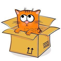 Illustratie+van+mooie+rode+kitten+in+doos