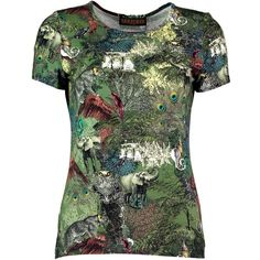 Santorus - Ceylon Jungle T-Shirt ($195) ❤ liked on Polyvore featuring tops, t-shirts, rayon t shirts, camo t shirt, camouflage top, urban t shirts and green top