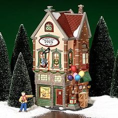 """Department 56: Products - """"Nicholas & Co. Toys"""" - View Lighted Buildings.  Retired city"""