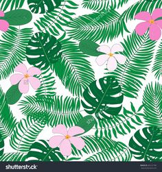 Seamless Pattern With Hand-Drawn Tropical Leaves And Flowers. No Background Ilustración vectorial en stock 463131785 : Shutterstock