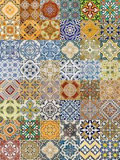 Azulejos adesivos - Azulejos retrô - 20x20cm