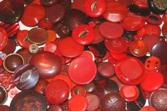 200 Red Buttons with Shanks Bulk Lot for Sewing  scrapbooking crafts altered art weddings by scrapitsideways, $10.00