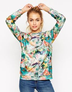 ASOS | ASOS Sweatshirt in Super Soft Fabric with all over Bambi Print at ASOS