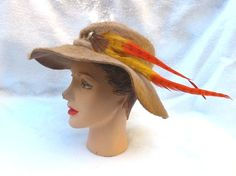 Clearance 50's 60's Vintage  Wide Brim Hat by MyVintageHatShop