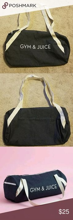 Gym and Juice private party gym bag Brand new unused private party gym bag. GYM AND JUICE.  Nee for fall and featured in the FabFitFun box. Denim with cream straps. private party Bags