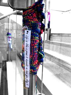 Our first knit bombing assignment around the school. Stitches, Knitting, School, Collection, Fashion, Loreto, Moda, Sewing Stitches, Tricot