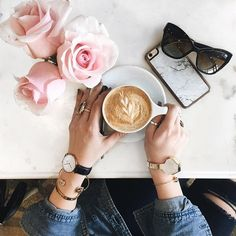 Coffee flatlay/ coffee and roses/ styled photo/ photography/ coffee inspiration How Much Money Do You Make?  #theeverygirl