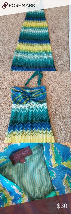 Hale Bob blue, and green halter dress So soft and comfy.  Unlined bodice, skirt is lined Halter ties so can adjust to fit Chevron pattern This would be so great on the beach as a cover up or comfortable enough to than errands in when the weather is hot Pre owned gently used Rayon fabric that feels like a cross between a knit and light sweater Hale Bob Dresses Maxi