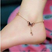 Wish | Hot Sale Women Sexy Butterfly Crystal Drop Rose Gold/Silver Chain Anklets For Women