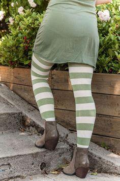 Extraordinarily Longer Striped Thigh High