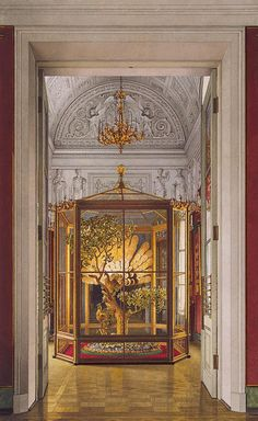 Interiors of the Small Hermitage - 'Peacock' Clock in the Eastern Gallery - Russia, 1860