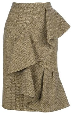 BURBERRY PRORSUM Ruffle Wool Skirt