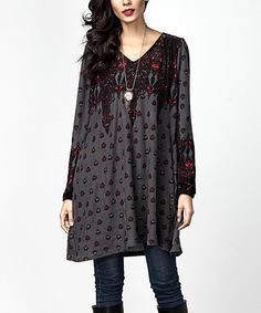 Take a look at this Charcoal Abstract V-Neck Boyfriend Tunic today!