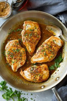 Maple Mustard Chicken - a super easy yet super flavorful chicken recipe. Chicken breasts are seared until golden brown and covered with a sweet and tangy maple mustard sauce. Perfect for busy days! Cooking App, Cooking Recipes, Cooking Videos, Dishes Recipes, Vegetarian Cooking, Beef Recipes, Cake Recipes, Dinner Recipes For Kids, Healthy Dinner Recipes