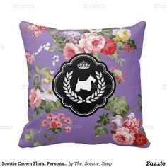 Scottie Crown Floral Personalize Throw Pillow