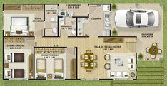 plano de casa de una planta y tres dormitorios