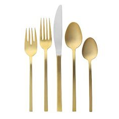 Gold Flatware 5-pc. Place Setting #WestElm  Oh you fancy huh?