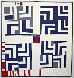 Blue and White Split Log Cabin Quilt by Peppermint Pinwheels, via Flickr