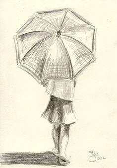 Chica con paraguas - 4 x 6 - estudio a lápiz