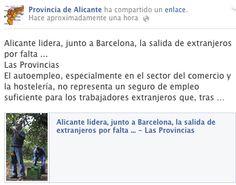 Alicante lidera  la salida de extranjeros por falta de EMPLEO El autoempleo, especialmente en el sector del comercio y la hostelería, no representa un seguro de empleo suficiente para los trabajadores https://www.facebook.com/ProvinciadeAlicante
