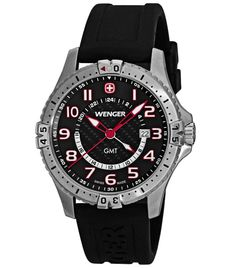 Wenger 77075 Men's Black Dial 100M WR Rubber Strap Watch