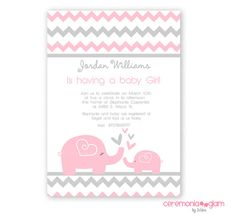 Baby shower girl baby elephant pink and grey chevron printable invitation on Etsy, $9.50