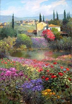 "Kent R. Wallis was born 1945 in Ogden, Utah,USA. "" Kent's superbly executed paintings blend the schools of romantic realism and impressionism. Paintings I Love, Beautiful Paintings, Beautiful Landscapes, Landscape Art, Landscape Paintings, Impressionist Art, Wallis, Love Art, Painting Inspiration"