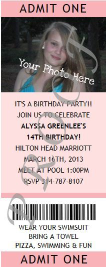 Fun and exciting Party Invitations for Adults. Select and order from a large assortment of unique party invitations for all occasions. Ticket Invitation, Admit One, Pink Photo, 14th Birthday, Birthday Party Invitations, Best Part Of Me, Rsvp, Fun, Birthday Invitations