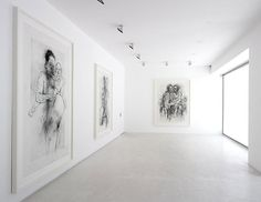 Jenny Saville---what a impactful, clean, beautiful way to exhibit these large sketches/drawings