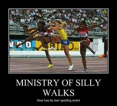 Hurdlers without hurdles, looks kinda like they're from The Ministry of Silly Walks