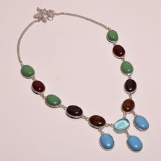 Gorgeous Mulit Stone .925 Silver Handmade Designer Necklace Jewelry SJA975 #Handmade
