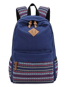 503c78e03f68 Hmxpls Unisex Fashionable Canvas Zip Bohemia Boho Style Backpack School  College Laptop Bag for Teens Girls Boys Students