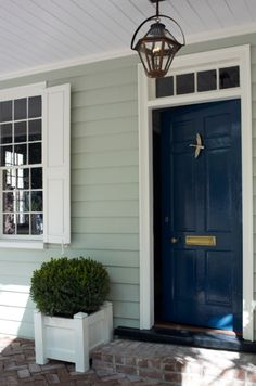 Entry/door color, ceiling detail, Torrance Mitchell design, Paint Color: Benjamin Moore, Gentlemans Gray