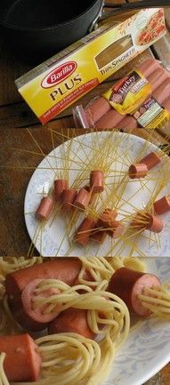noodle, hot dog dinner. put the noodles in the hot dog before yo cook them