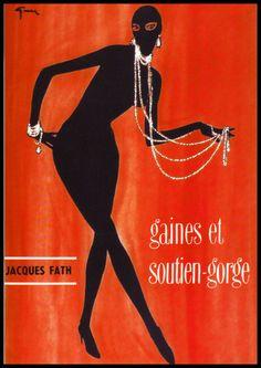 Jacques Fath illustration by Rene Gruau for a Fath lingerie