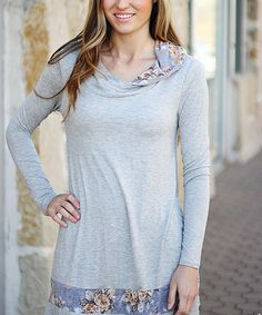 Look what I found on #zulily! Gray Rose-Trim Cowl Neck Tunic by So Perla #zulilyfinds