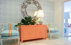 entryway-room-blue-orange-decor-credenza-nailhead-trim