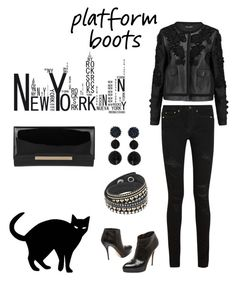 """""""Total black"""" by valelondon ❤ liked on Polyvore featuring Dolce&Gabbana, Gucci, Yves Saint Laurent, Jimmy Choo and Humble Chic"""