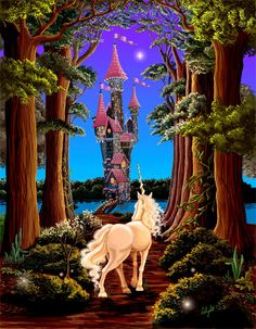 Evening Star. unicorn evenstar castle forest fantasy fairy tale 11x14 unframed limited edition art print