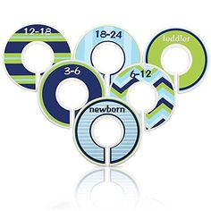 #popular These nautical baby #closet dividers in navy blue, sky blue and #lime green are a great way to organize your little ones closet. This is a set of 6 divid...
