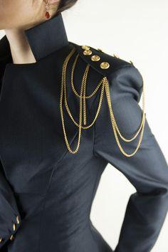 Asymmetrical Blazer, Women's Jacket, Office Suit, Shoulder Chain, Navy Color Suit Office Outfits Women, Mode Outfits, Fashion Outfits, Womens Fashion, Blazers For Women, Jackets For Women, Clothes For Women, Women Pants, Women's Jackets