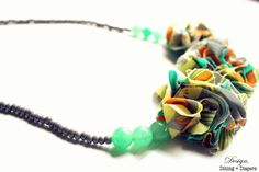 DIY Fabric Flower and Beaded Necklace. I want to make this for the Spring-Summer Season. #jewelry #fashion
