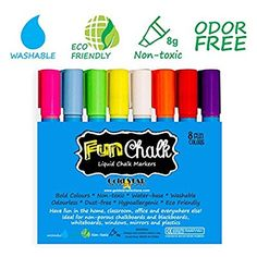 Chalk Markers with Reversible Tip - Ideal for Blackboards, Windows, Non-porous Chalkboards, Whiteboards, Plastics, Bistro Boards, Mirrors, Teachers, Kids, Arts and Crafts, Office and More - Odor Free, Non-toxic Neon Liquid Chalk Pens - Bold Colors & White Ink - 8 Pack
